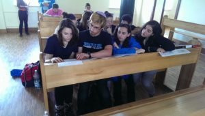 image of Marchers studying Talmud at the Chachma Yeshiva in Lublin.
