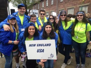 image of New England MOTL Students the day of the March of the Living on Holocaust remembrance day in Auschwitz.