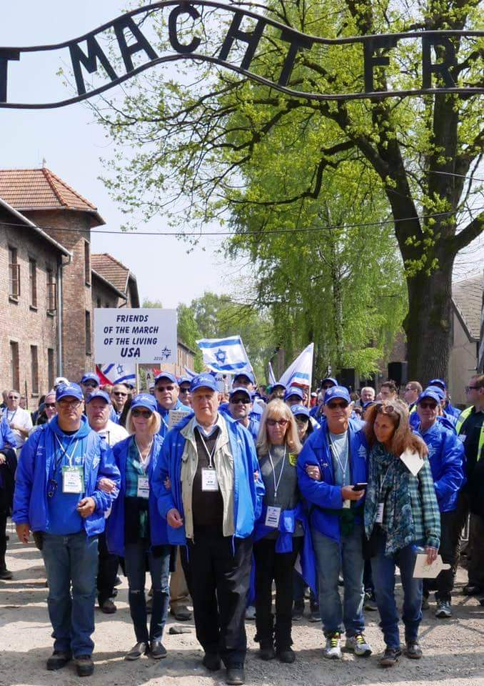 Start of adult March of the Living from Auschwitz, led by survivor Sid Handler