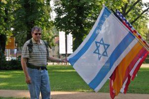 Image of Israeli flag flying at Berlin music festival