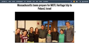 Wicked Local: Massachusetts Teens Prepare for MOTL Heritage trip to Poland, Israel