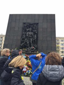 Image of Warsaw Ghetto uprising memorial from Florida 2017 Adult March of the Living trip.