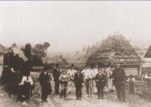 Image of Jew and peasants in a village in the Carpathian mountains, 1921.
