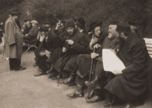 Image of Hasidim and others at Krynica-Zdroj, the most famous spa in Poland, in the 1930s.