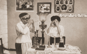 Image of Blessing the Sabbath candles.