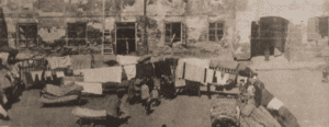 Image of Airing the bedding and cleaning house for Passover.