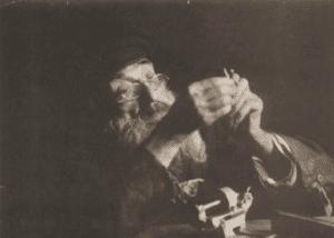 Image of Khone Szlaifer, 85-year-old grinder, umbrella maker, and folk doctor. Lomza, 1927.