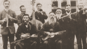 Image of Klezmorim - traditional musicians, most of them members of the Faust family.