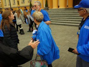 Image of Adult MOTL group leaving the steps of Chachmei Lublin Yeshiva synagogue.