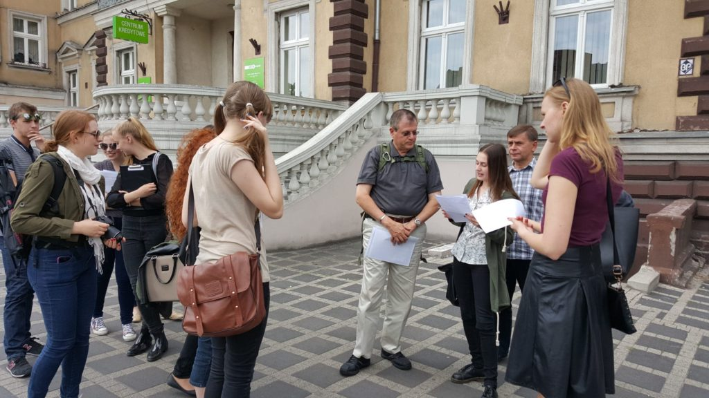 Irv at former Jewish girls' school in Kalisz