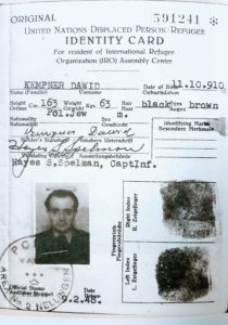 Image of Irv's dad's DP identification papers