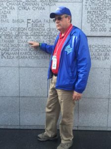 Image of Warsaw Umschlagplatz wall of first names of Ghetto victims