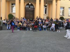 Image of Members of the 2018 March of the Living trip visit Lublin Yeshiva.