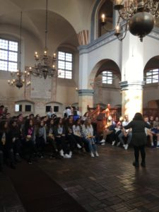 Image of Members of the 2018 March of the Living trip visit Tykocin Synagogue.