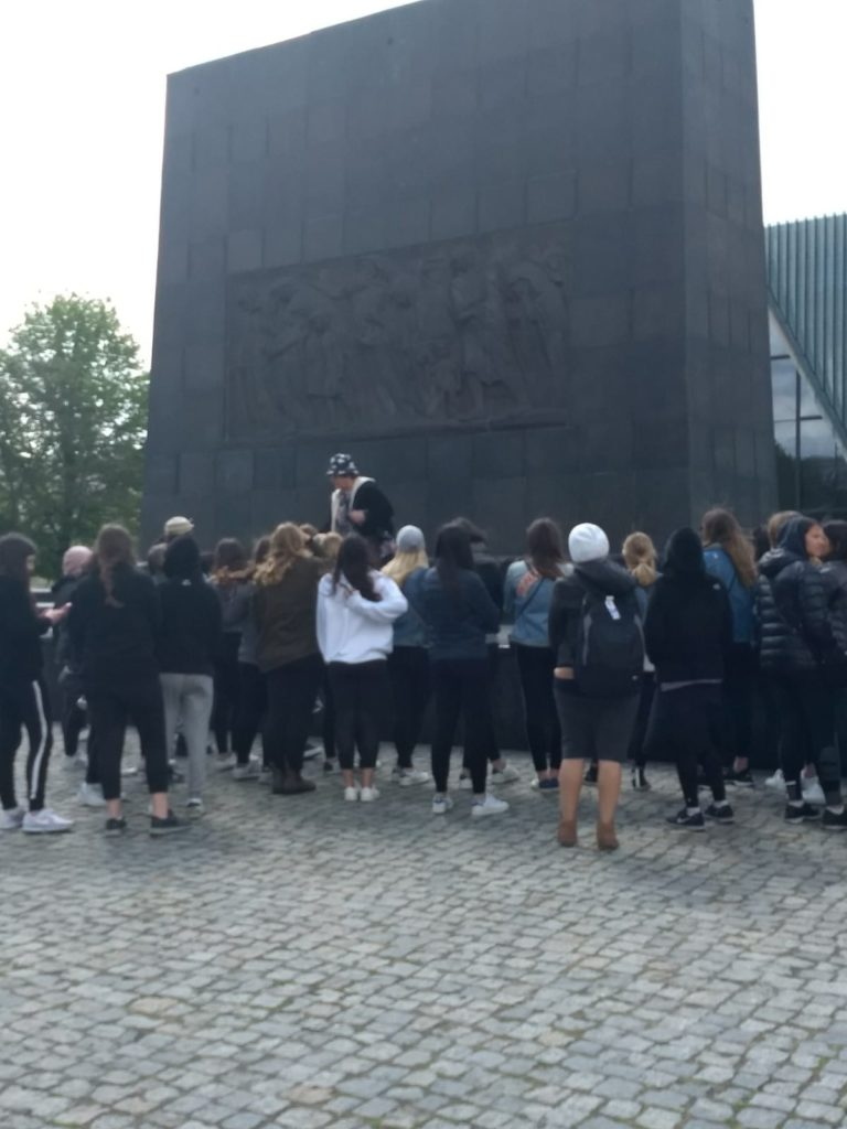 Image of Day 1 of our Poland student mission at the Warsaw ghetto memorial.
