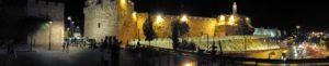Image of Old city Jerusalem at night panorama