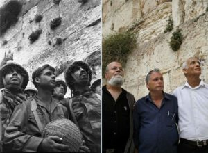 Image of IDF soldiers who helped liberate Jerusalem in 1967 vs 2018.