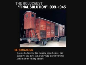 Image of USHMM presentation tracing the history of the holocaust and Kempner Family